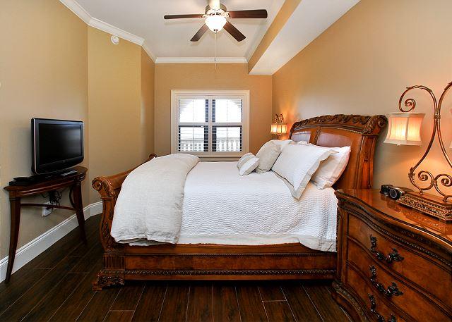 Queen bedroom with new bedding