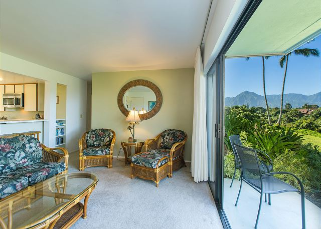 Open the glass sliders and enjoy your views & fresh air.