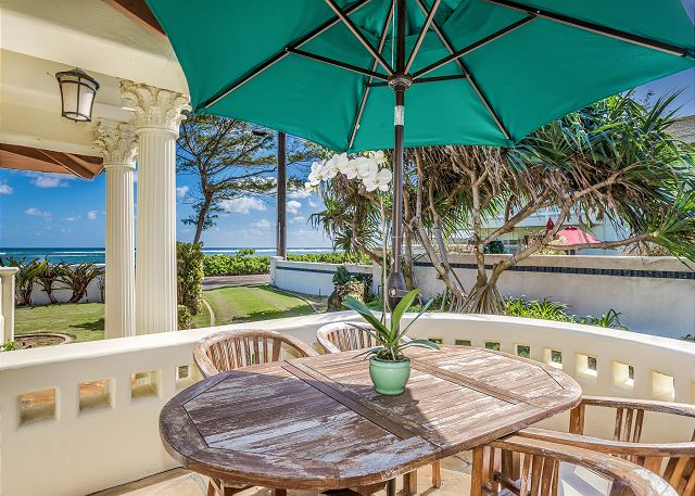 Side lanai with ocean views off of main living area