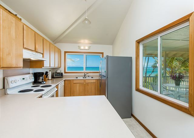 Upstairs full kitchen, ocean views