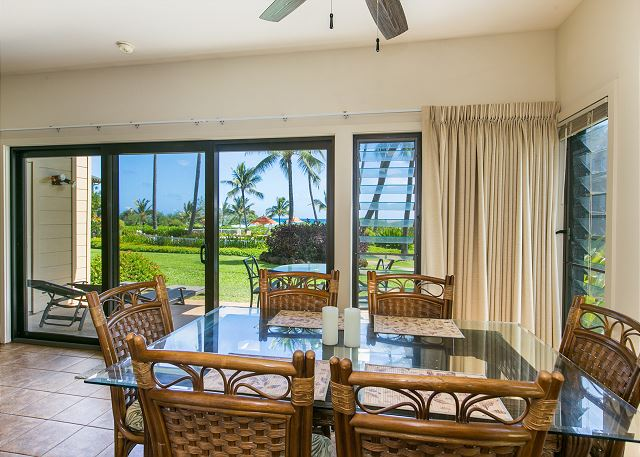 Spacious dining table seats up to six!  Enjoy the sound of the ocean as you dine in the comfort of your own space.