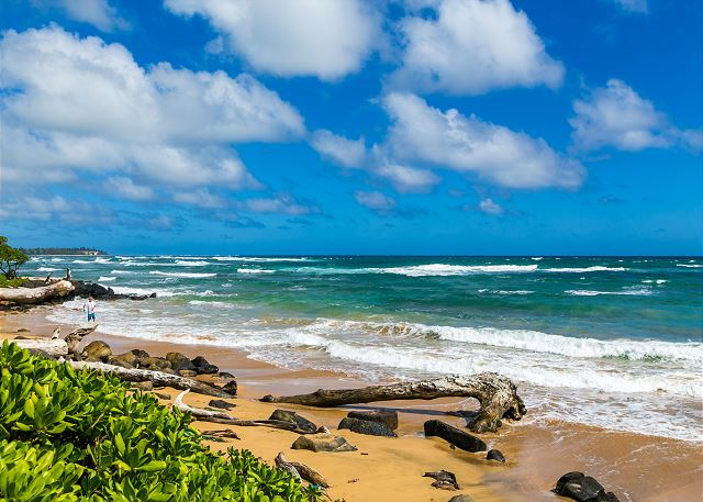 Kaha Lani Resort is just steps from long sandy beaches.