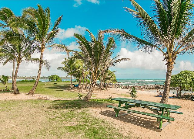 Lydgate Beach Picnic Area, a short walk from the resort