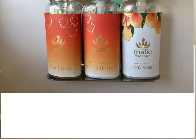 Organic Malie Mango Body Wash, Conditioner and Shampoo provided