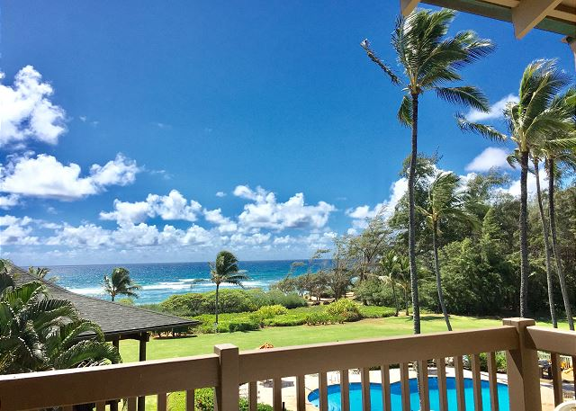 Private lanai with pool and ocean view