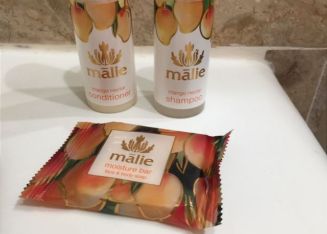 Offering complimentary sample of Malie Organics Mango Shampoo, C