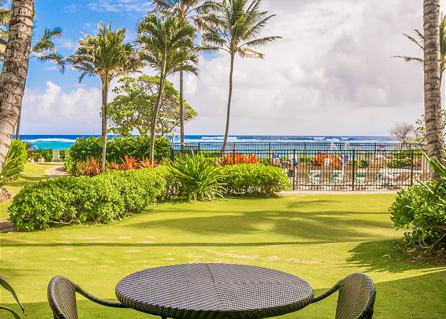 Lanai with beautiful ocean and pool views