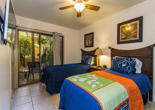 The second bedroom has two twin beds which may be converted to a King upon request.