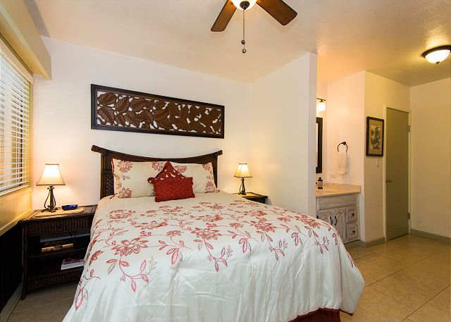 Master Bedroom with King Bed, TV, Ceiling Fan