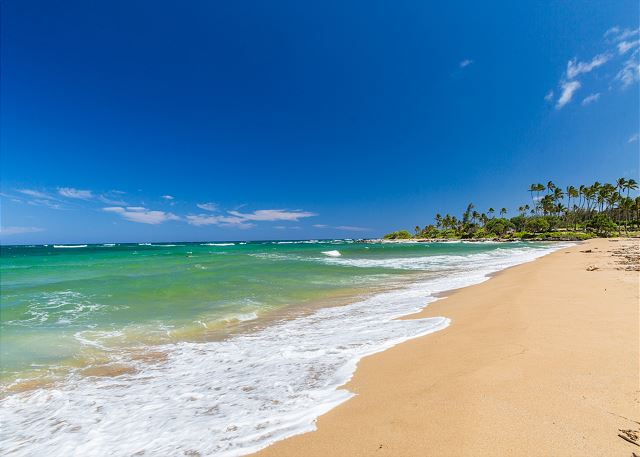 Wailua Beach, 1 mile south of property