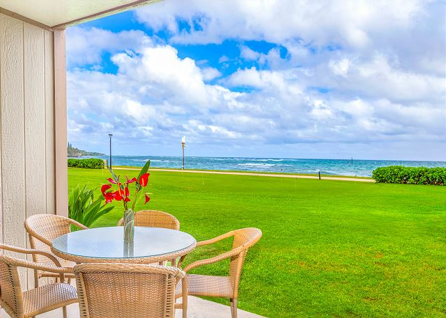 Private Oceanfront Lanai with Gorgeour Sunrise Views