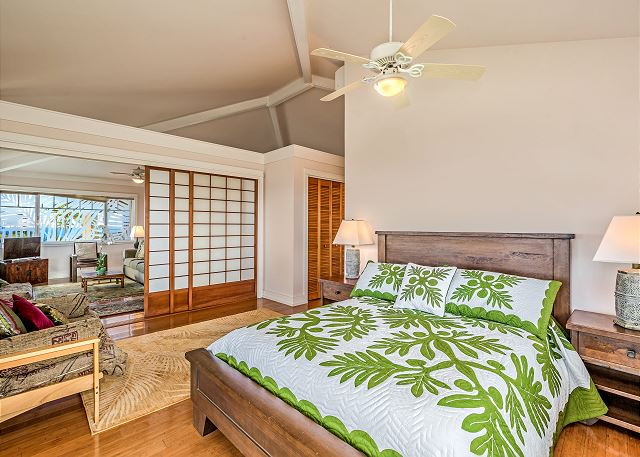 Master bedroom on upper level with air conditioning.