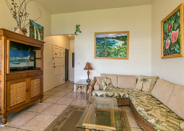 Living Room with flat screen tv and ample