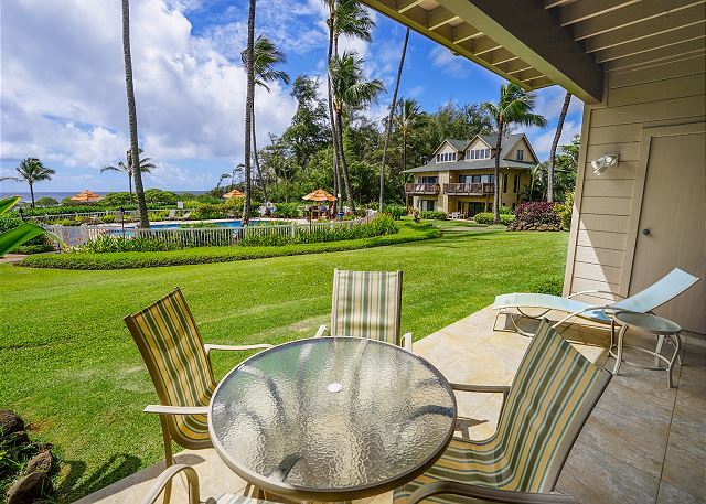 Private Lanai overlooking the Pool and Pacific Ocean