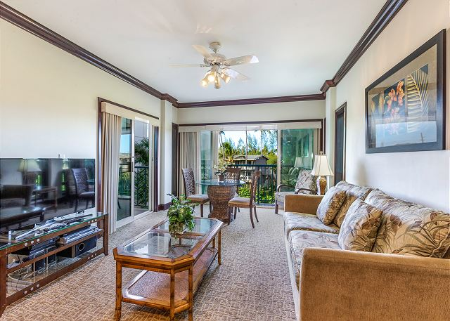 Spacious Living and Dining Area opens to Private Outdoor Lanai