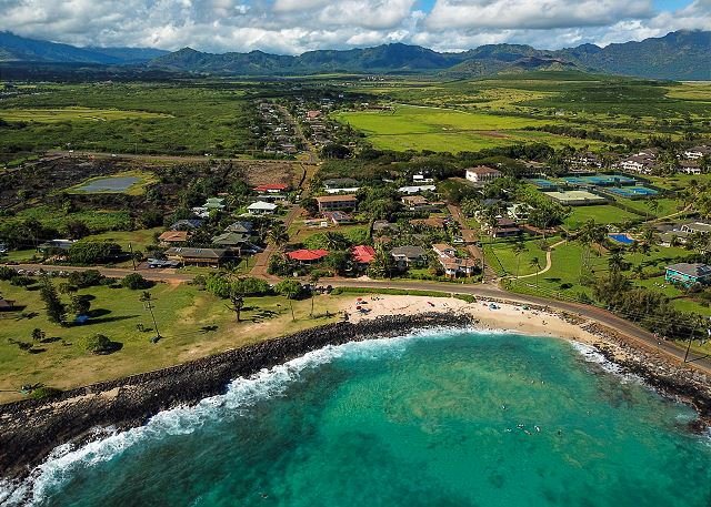 Aerial of the Poipu Area just steps from your condo