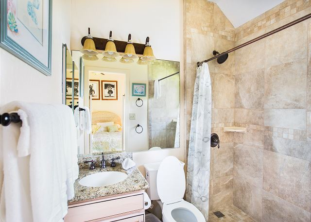Downstairs bathroom with walk in shower.