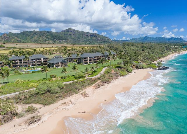 Aerial View of resort and Wailua Beach