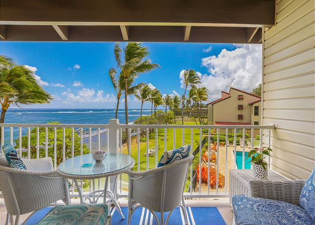 Lanai with Oceanfront and Pool Views