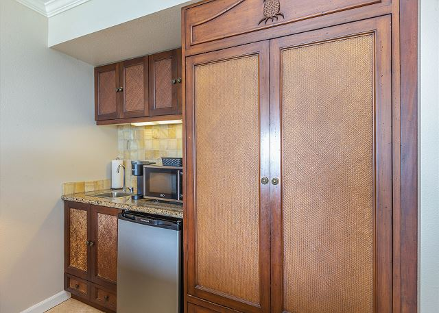 Kitchenette Area with Mini Fridge, Microwave, Coffee Maker