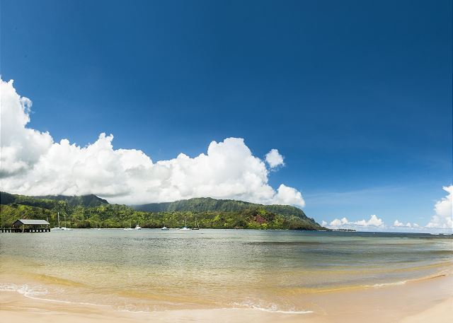 5-10 minute drive from Princeville is the beautiful Hanalei Bay