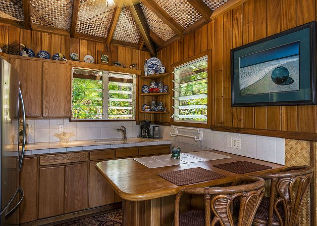 Bali Hai Cottage Kitchenette with fridge, sink, coffee maker
