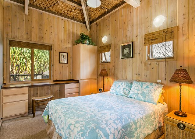 Niulani Bungalow is a 1 bedroom, 1 bath with living area and marble walk-in shower.