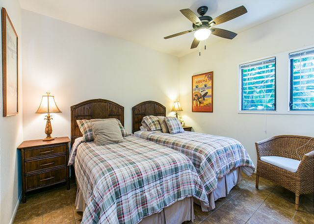 Two twin beds in the second bedroom are convertible to a King upon request.