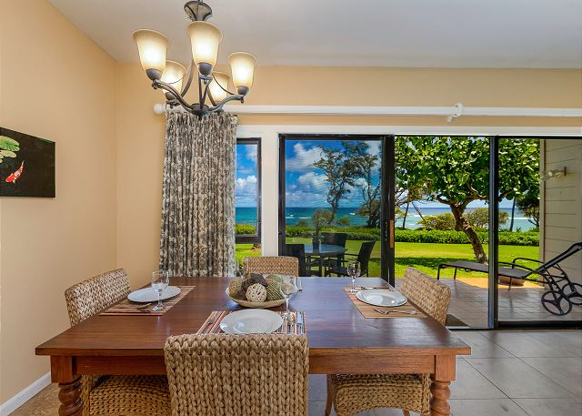Beautiful oceanfront views from dining and living areas