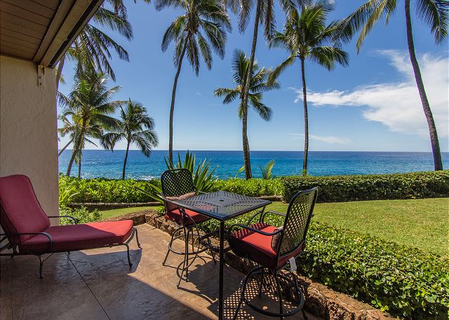 Enjoy beautiful ocean and sunset views from your private lanai.