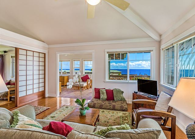 Upper level living room and sun room.