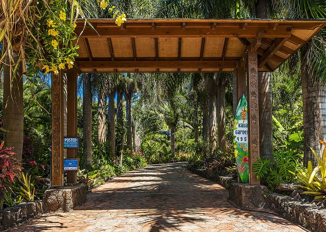 Drive up the cobbled stone driveway to Kauai Gardens Estate.