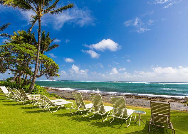 Beachfront Lounging at Kapaa Shore Resort