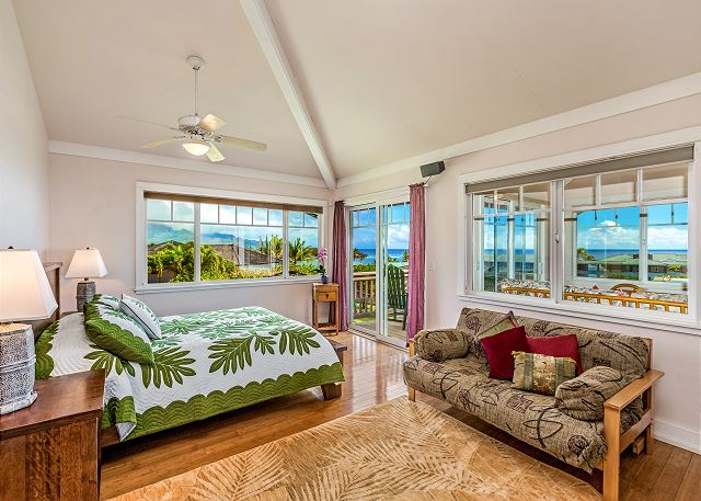 Upstairs master bedroom with views towards Shipwreck Beach!