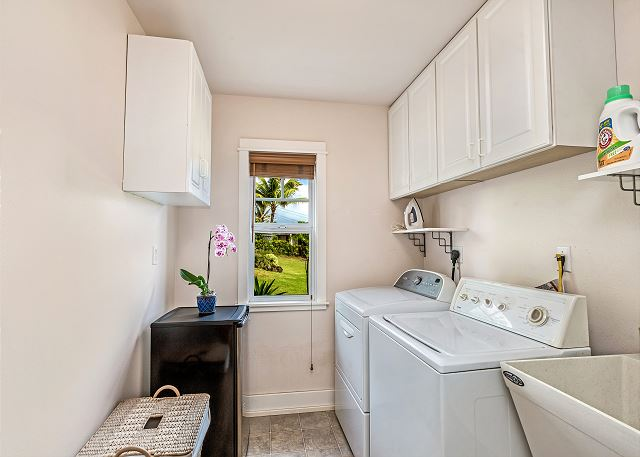 Washer and dryer provided at Mele Kai on lower level.