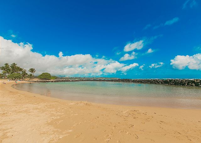 This life-guarded beach is a short drive from Kapaa Shrore Resort and is a great swimming location.  Also at Lydgate Park is a large playground for kids.