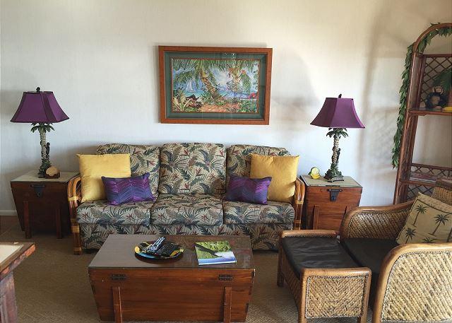 Living area with queen sofa/sleeper.