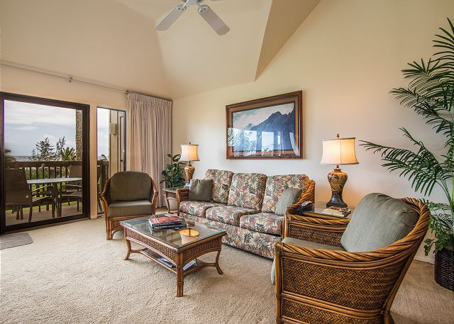 Living Room Area with Lanai opens to Oceanfront Views
