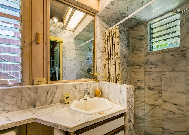 Cottage Bathroom with Marble Walk-In Shower