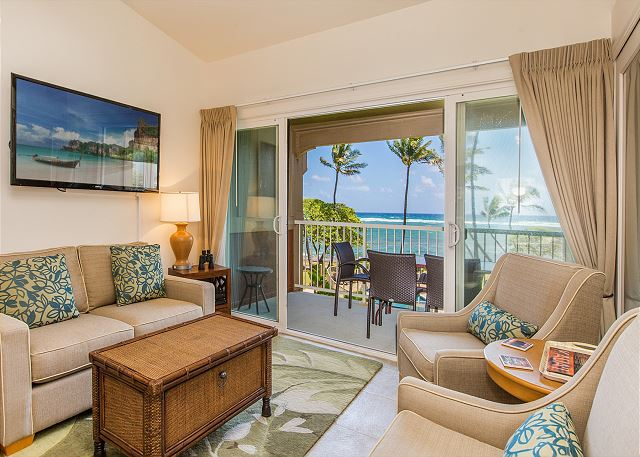 Living Area with Oceanfront Views