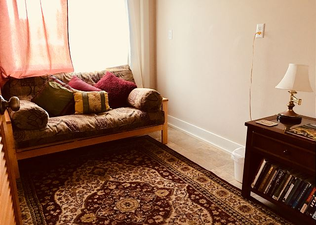 Downstairs Den with full size futon couch