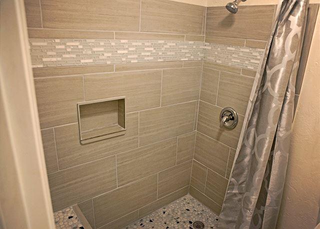 Newly tiled bathroom.