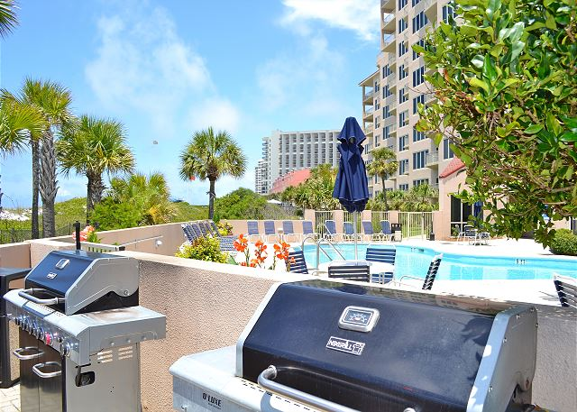 Beach Manor pool-side grills