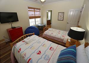 Twin room suite, TV, full bath, kids art table.