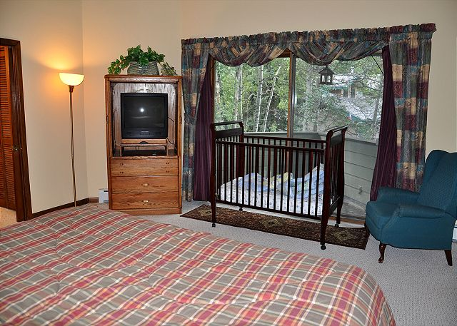 24 deer run avon co home rental gore creek properties Master bedroom with a crib