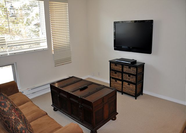 Has a large flat screen TV and sleeper sofa.