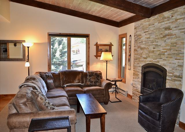 Cozy and comfortable Living Room with Gas Fireplace.