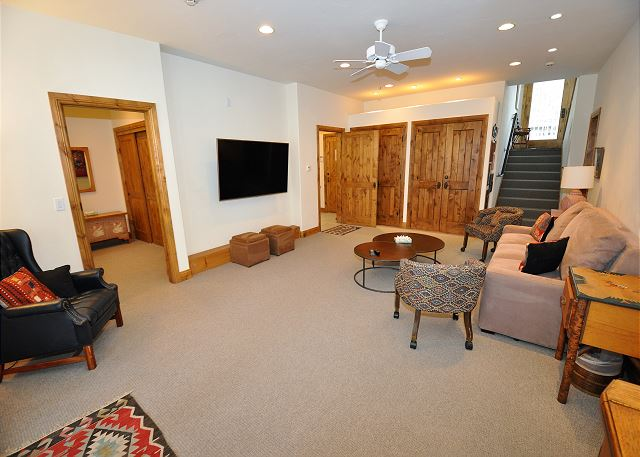 Downstairs den with really comfy memory foam pullout couch