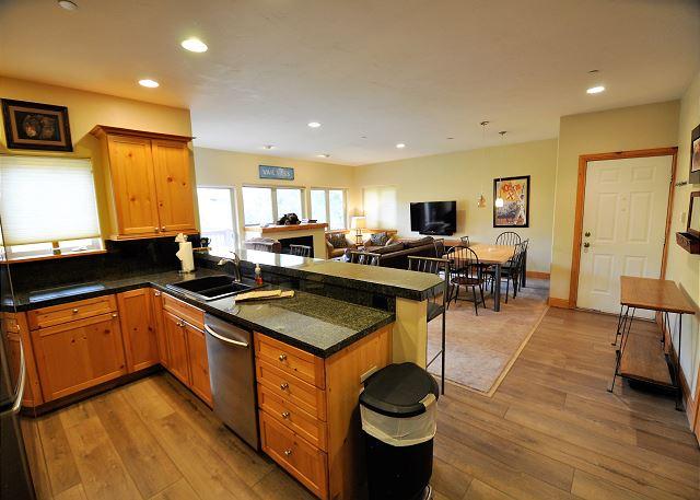 Kitchen through to the seating area