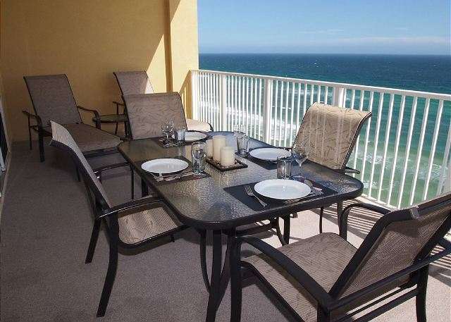 The balcony has been furnished so to provided for your comforting and dining entertainment.